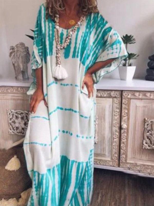 Women's Loose Round Neck Printed Maxi Dress