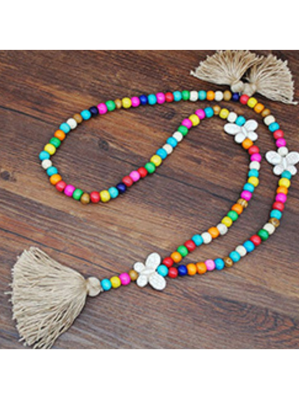 Bohemian handmade beaded tassel necklace