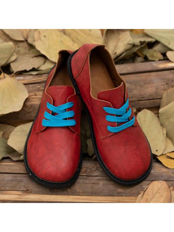 Women's retro lace up flat shoes