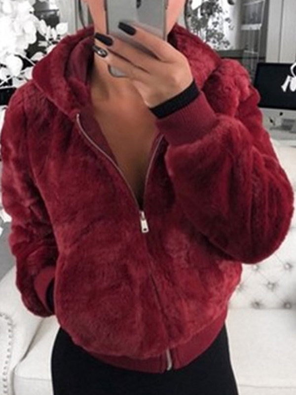 Casual Hooded Faux Fur Plush Jacket