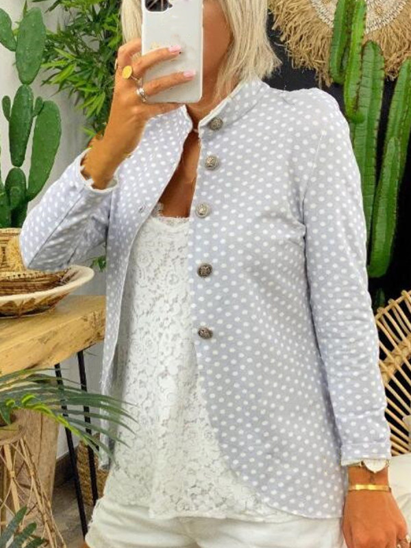 Polka Dot Printed Suit Jacket