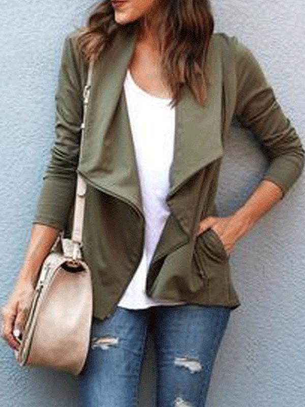 Fashion Zipper Lapels Solid Color Coat