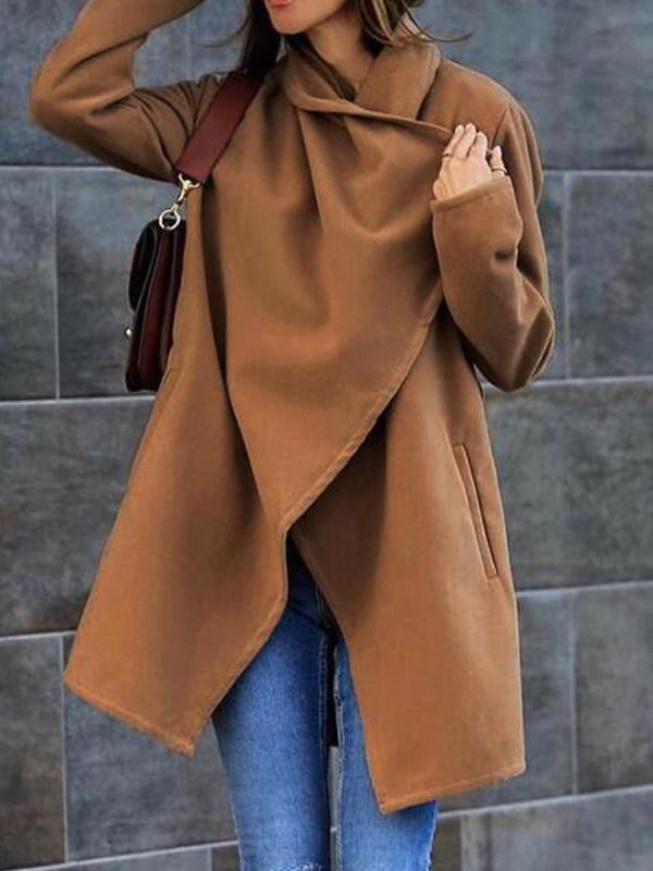 All-match Woolen Pocket Coat