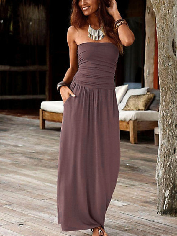 Tubeless sleeveless solid color dress