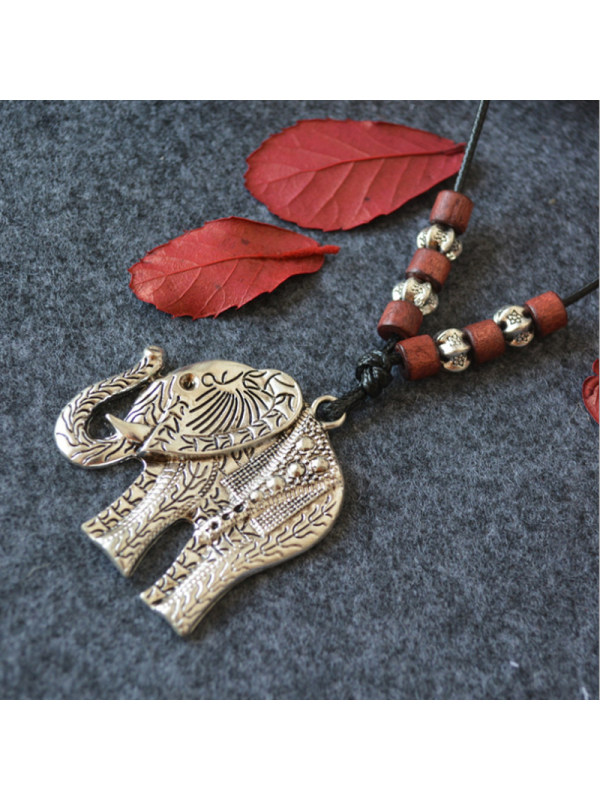 Vintage Silver Elephant Wood Bead Pendant Long Necklace