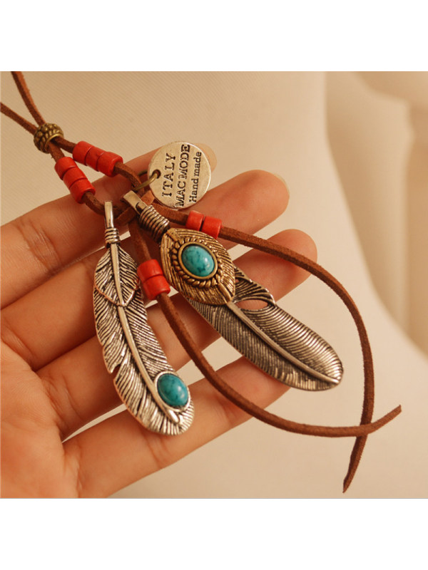 Ethnic Style Feather Tassel Wooden Bead Long Necklace