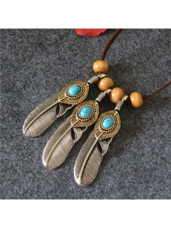 Feather Leaf Gemstone Wood Bead Pendant