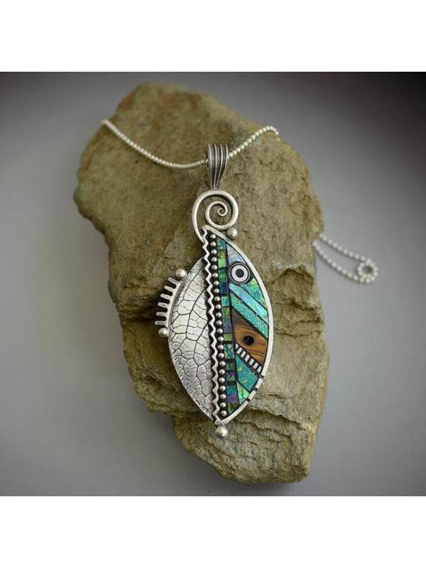 Abstract iridescent green leaf pendant necklace