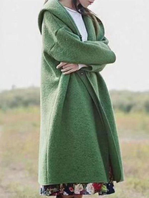 Hooded Long-sleeved Solid Color Woolen Coat