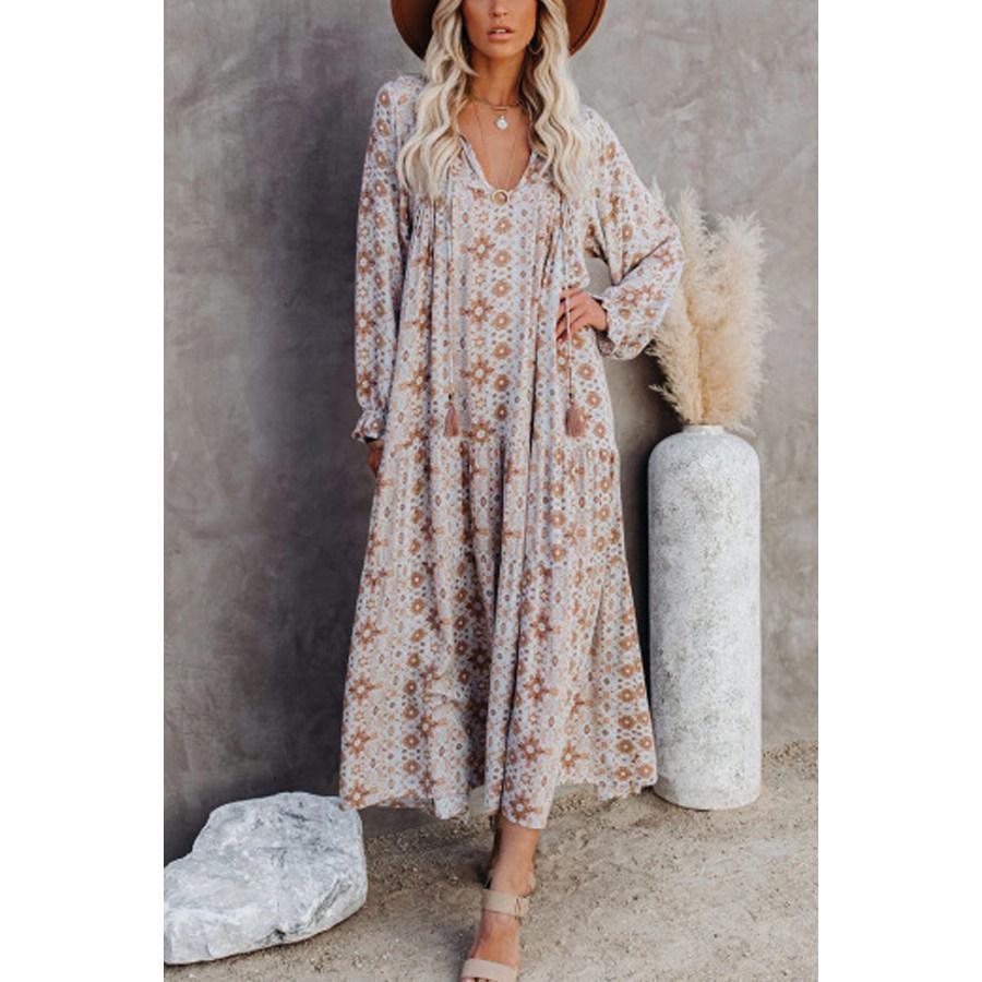 2020 Autumn Floral Maxi Dress