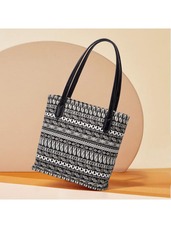 new canvas stereotyped tote bag personality printing bucket handbag