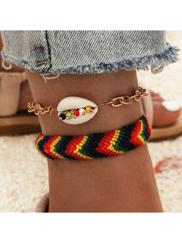 Bohemian Woven Colorful Rope Shell Tassel Anklet