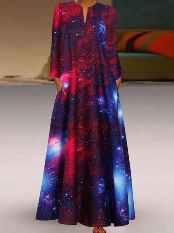 Starry Sky Print Long Sleeve Dress