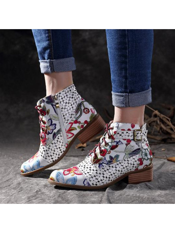 Casual Color Block Flower Martin Boots