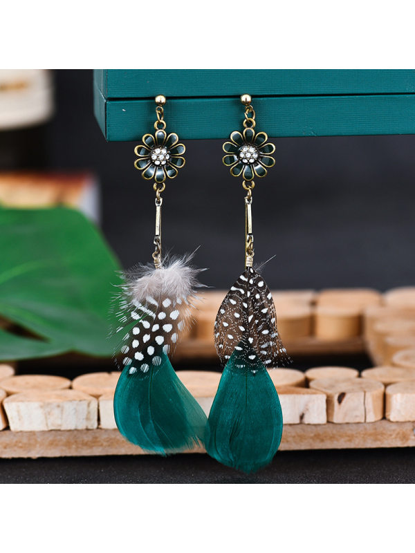 Sun flower feather earrings female European and American retro long exotic earrings