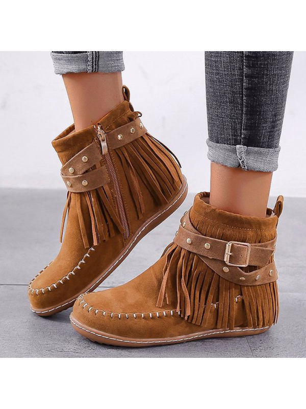 Casual fringed suede short boots