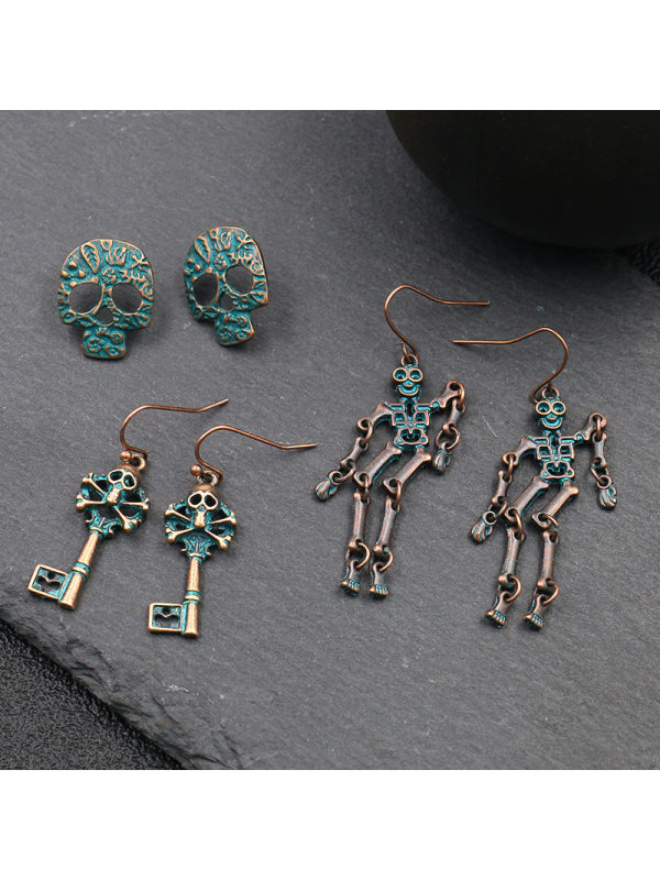 Skull combination earrings fashion retro