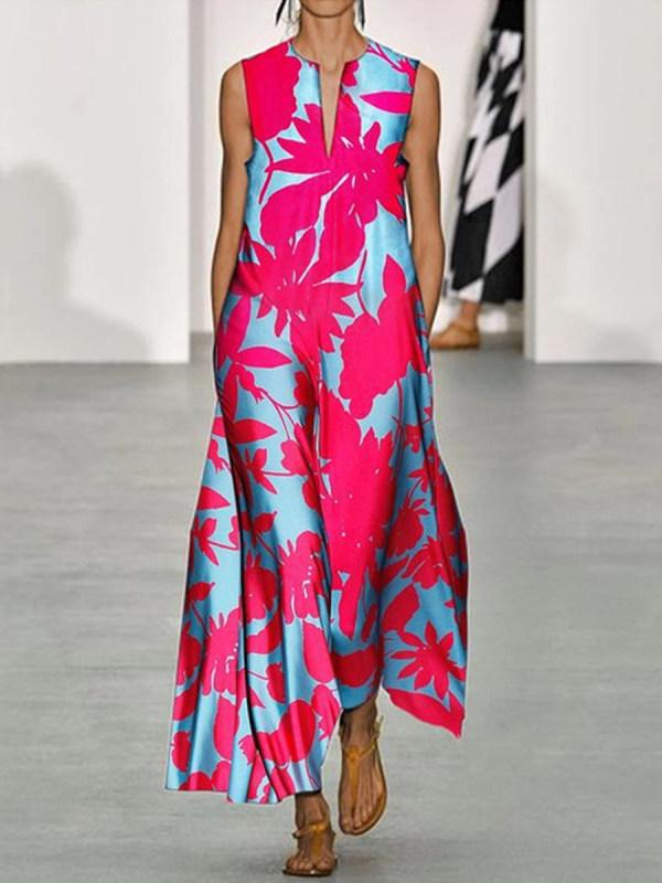 Fashion Printed V-Neck Dress