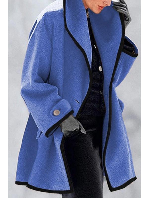 Fashion multicolor round neck loose woolen coat