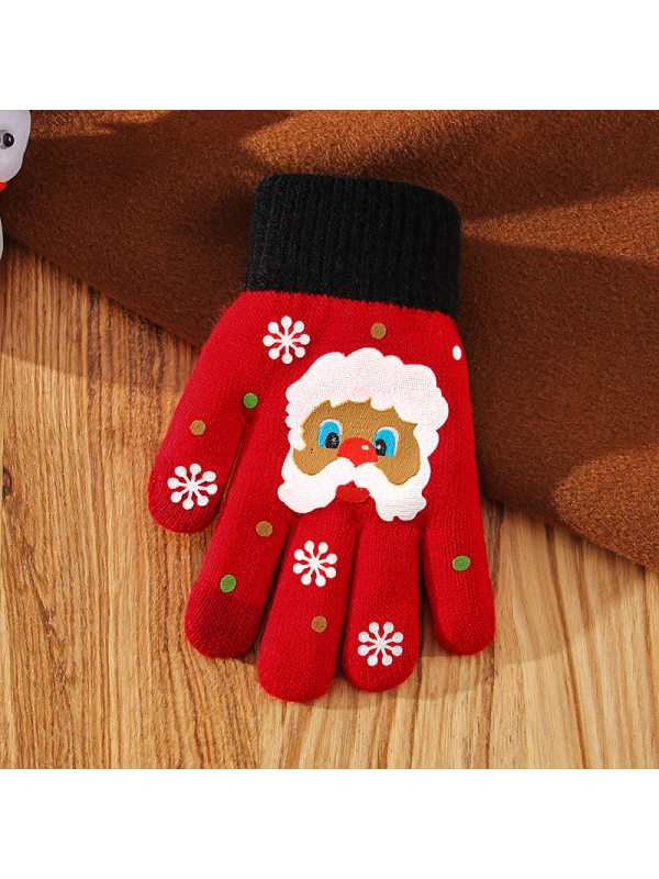 Christmas woolen knitted outdoor warm gloves