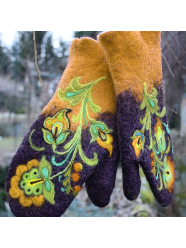 Casual Hit Color Embroidered Mittens