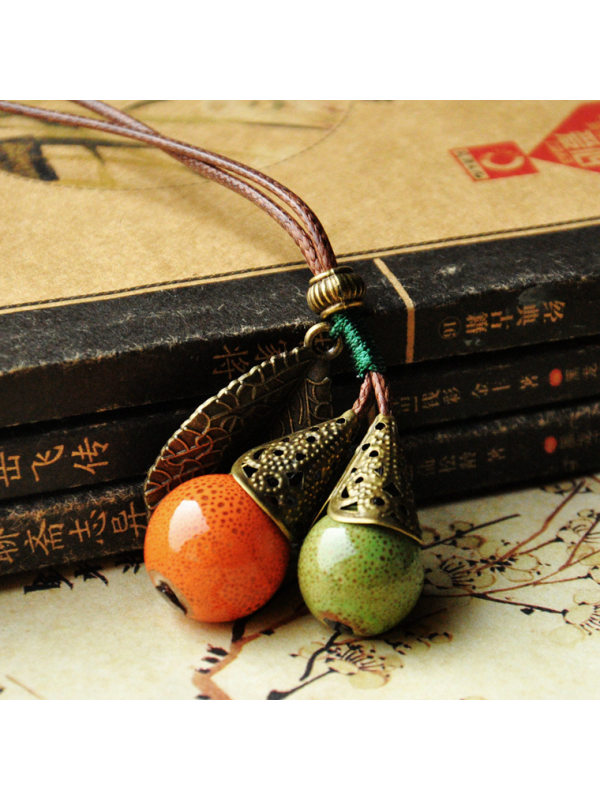 Ceramic Sweater Chain Long Ethnic Style Accessories