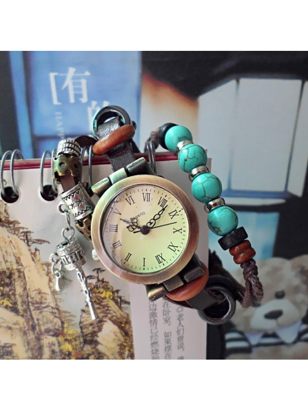 Vintage hand-woven multi-layer ethnic style accessories leather strap watch