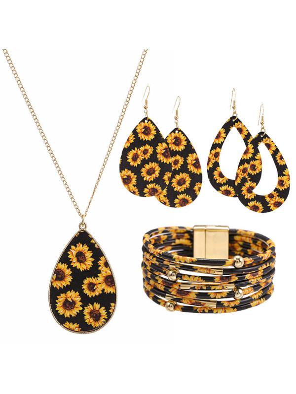 Daisy Necklace Bracelet Earring Combination