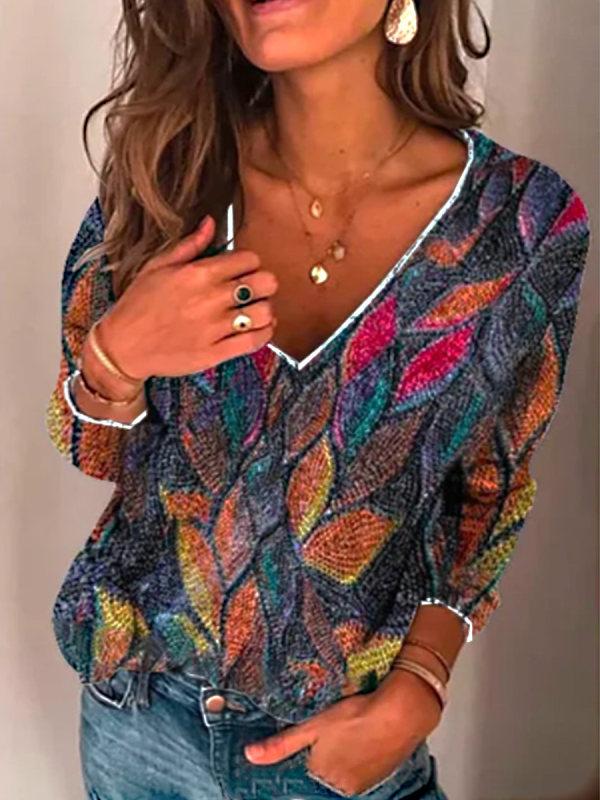 Vintage Leaf Print Knitted Sweater