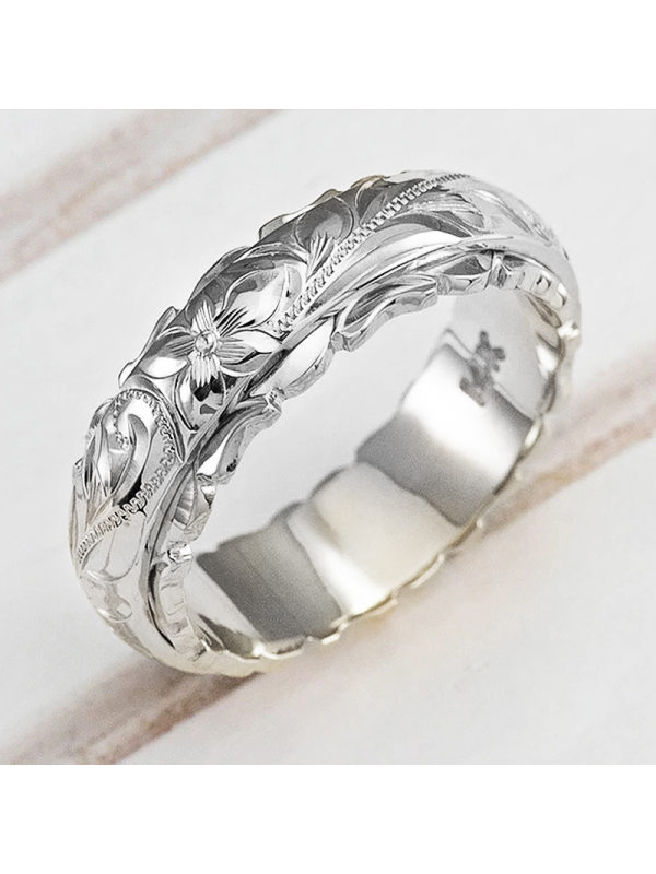Fashion gold-plated suspension carved rose flower ring