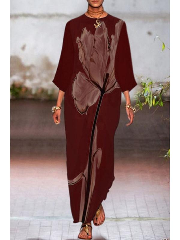 Round neck print irregular hem long sleeve dress