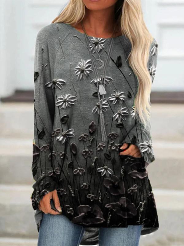 Vintage Floral Print Long Sleeve T-Shirt
