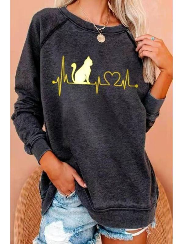 Fashion All-match Printed Long-sleeved Sweater