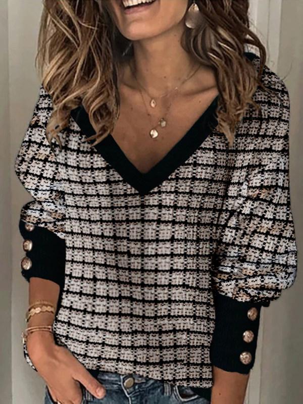 Women's V-neck long-sleeved Woolen Top