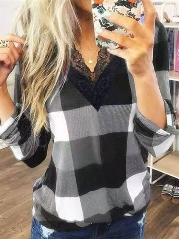 Casual Check Lace Long Sleeve T-shirt