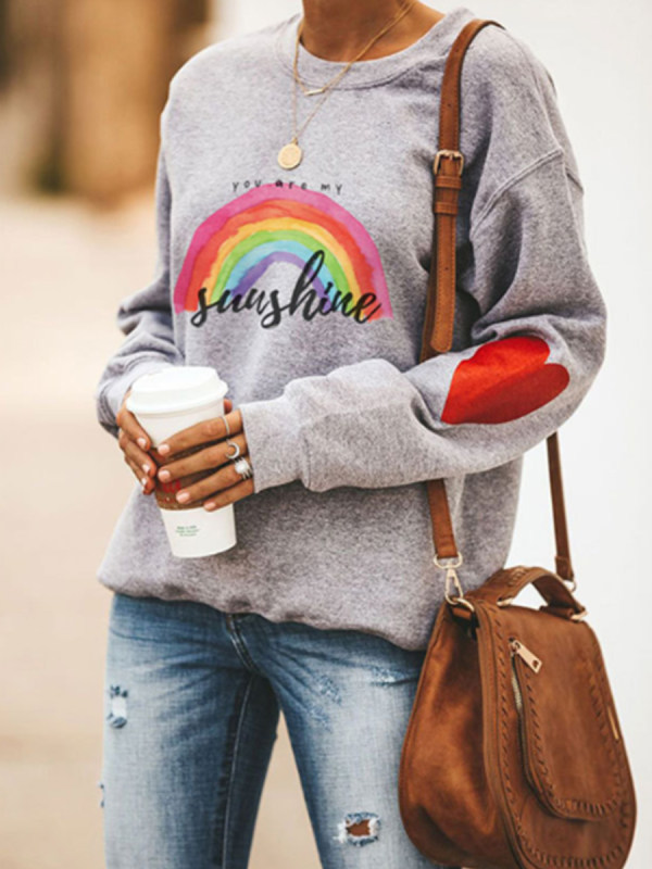 Casual Rainbow Print Crew Neck Sweatshirt