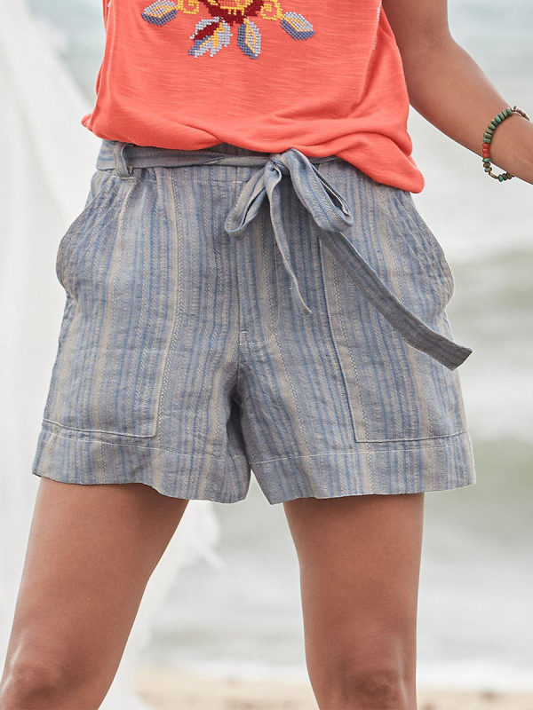 New Ladies Striped Loose Casual Shorts