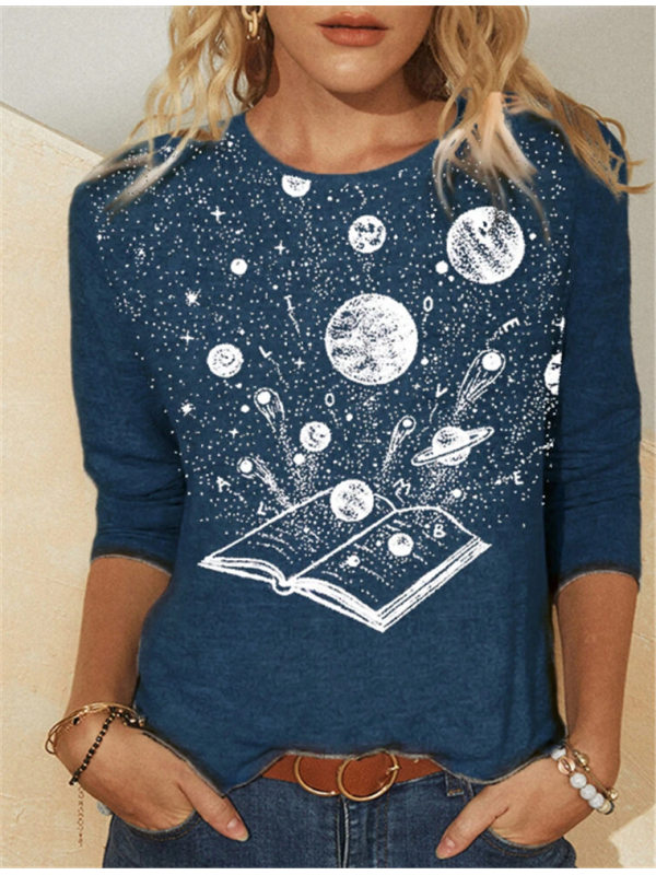 Loose casual round neck printed womens T-shirt