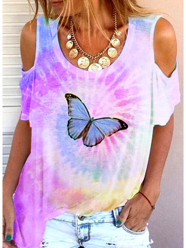 Colorful strapless butterfly print tie-dye T-shirt