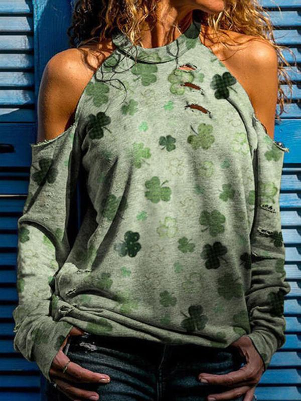Off Shoulder Collar Clover Print Loose Long Sleeve T-shirt