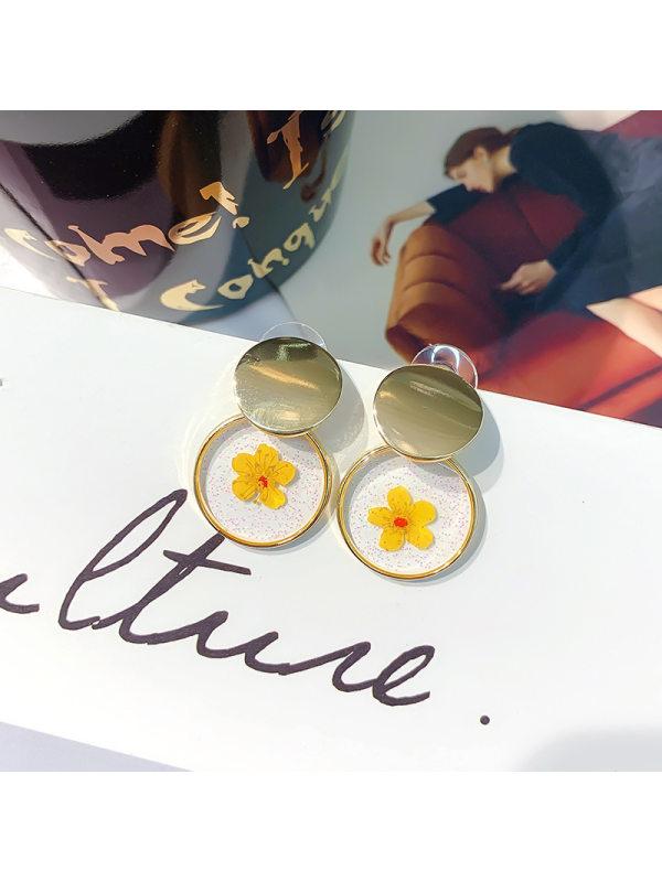 Winding flower earrings girly sweet geometric circular woven