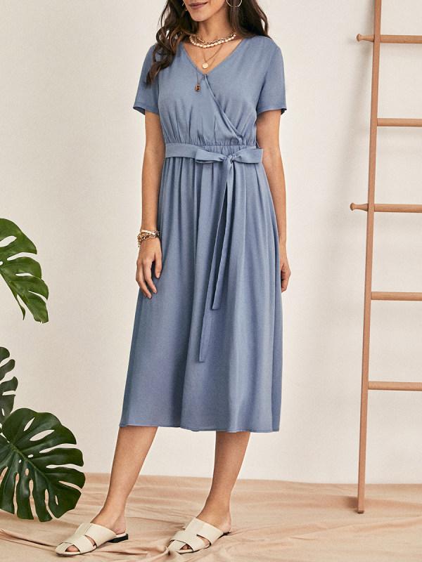 Ladies French Elegant Polka Dot Loose Dress