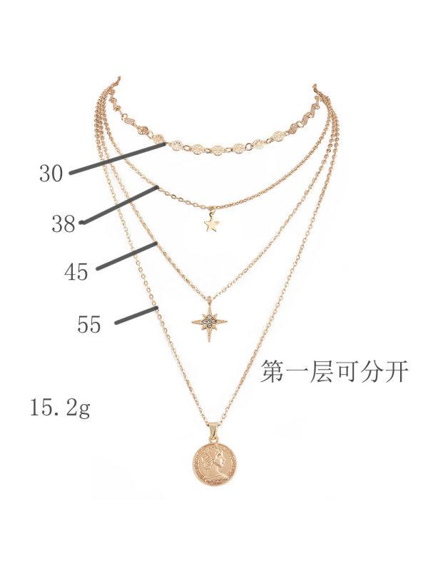 Metal multilayer choker necklace