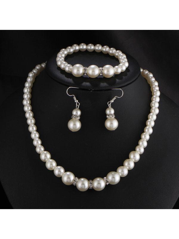 Pearl Earrings Necklace Jewelry Set Bridal Jewelry