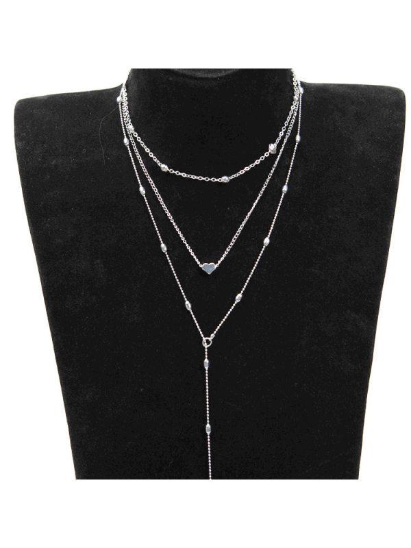 Copper cast peach heart pendant necklace set