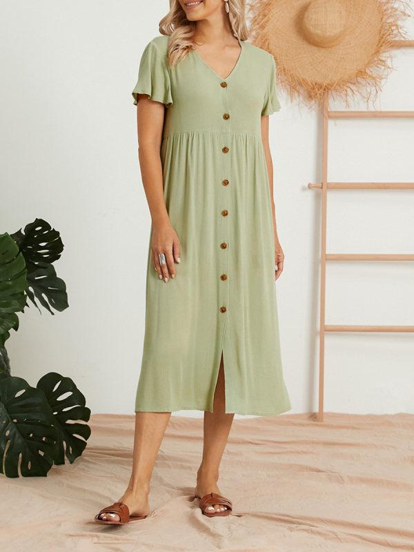 Womens solid color v-neck short sleeve dress