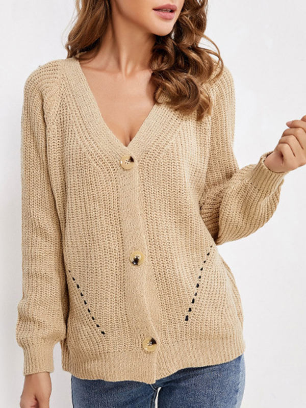V-neck Solid Color Loose Casual Sweater Cardigan
