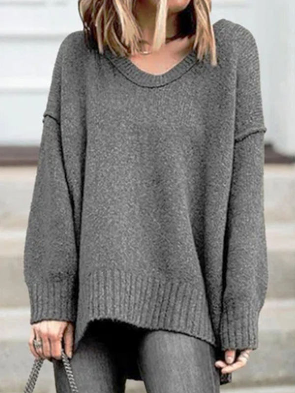 Fashion Solid Color V-neck Long-sleeved Casual Pullover