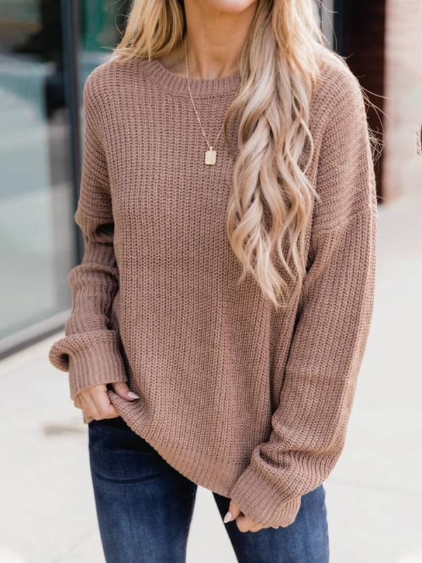 Women Chic Comfortable Warm Plain Casual Sweaters
