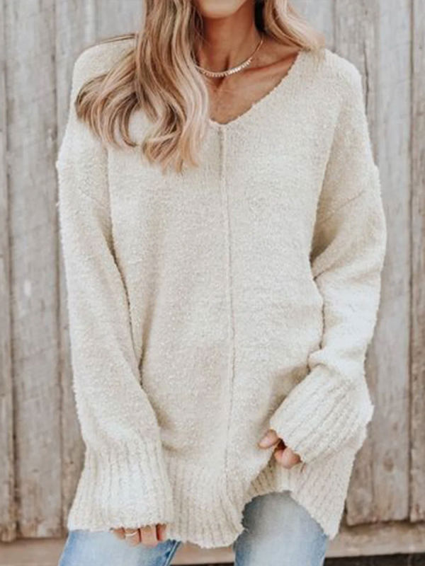 V-neck Casual Loose Solid Color Sweater Pullover